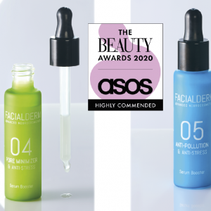 El sérum Reductor de Poros y el sérum Antipolución de Facialderm, productos recomendados por The Beauty Awards 2020 Asos