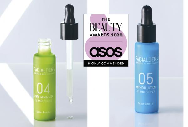 El sérum Reductor de Poros y el sérum Antipolución de Facialderm, productos recomendados por The Beauty Awards 2020 Asos
